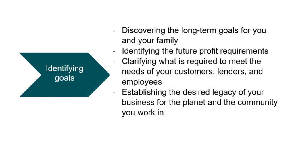 -	Discovering the long-term goals for you and your family  -	Identifying the future profit requirements -	Clarifying what is required to meet the needs of your customers, lenders, and employees    -	Establishing the desired legacy of your business for the planet and the community you work in